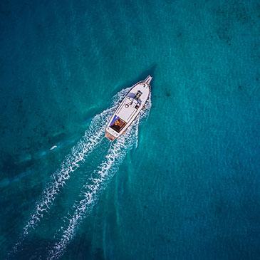 Motor yacht in Dalmatia from above