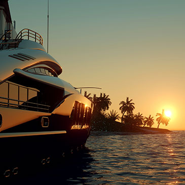 Luxury yacht and sunset in Croatia